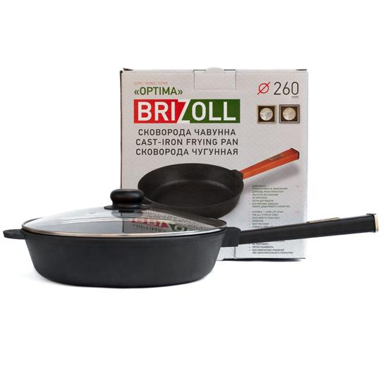 Сковородка Brizoll чугунная О 2660 - Р 26 см черная ручка