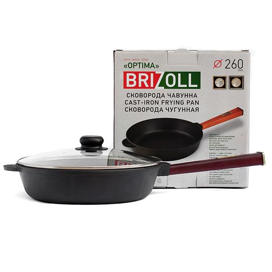 Сковородка Brizoll чугунная О 2660 - Р 26 см бордовая ручка