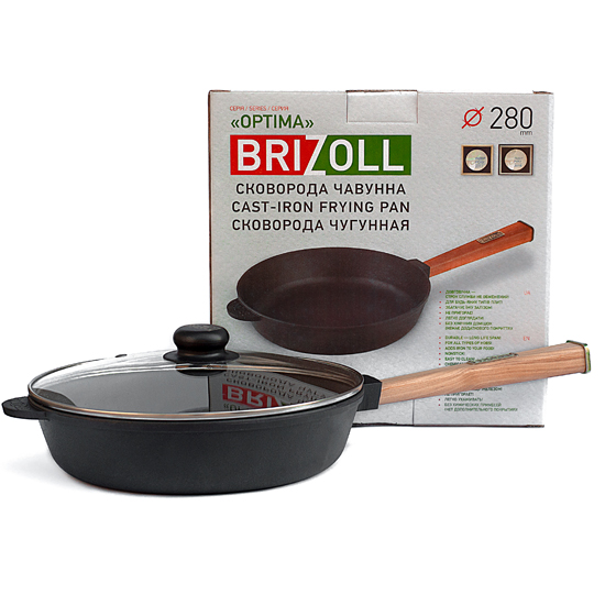 Сковородка Brizoll чугунная О 2860 - Р 28 см черная ручка