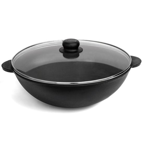 Сковородка Brizoll чугунная WOK W30-1 со стеклянной крышкой 4.7 л