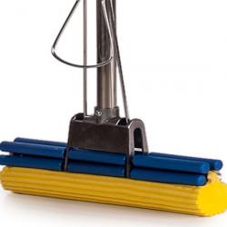 Швабра с двойным усиленным отжимом, металлическим основанием, металлической ручкой, мягкой желтой губкой 27 см