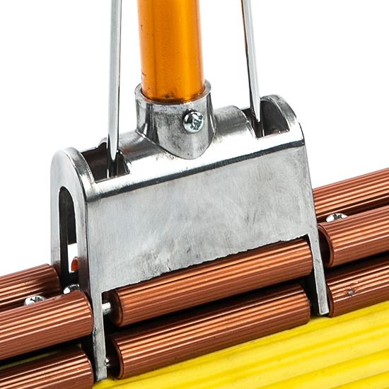 """Швабра с двойным усиленным отжимом, металлическим основанием, усиленной алюминиевой ручкой """"Золото"""", желтой мягкой губкой 27 см"""