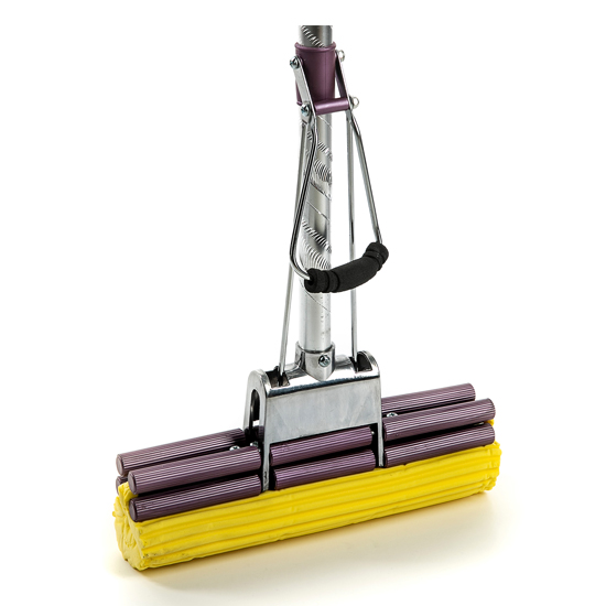 """Швабра с двойным усиленным отжимом, металлическим основанием, усиленной алюминиевой ручкой """"Серебро"""", желтой мягкой губкой 27 см"""