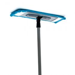 Полотер  32 см микрофибра с запаской 37 см на резинках с серым пластиком и металлическим кием 110 см