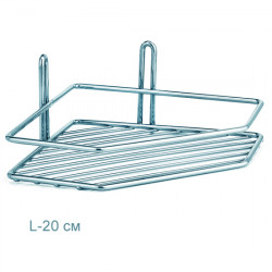 Полочка для ванной угловая 1-ярусная 2-контурная хромовая
