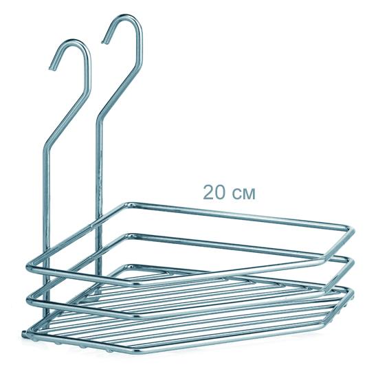 Полочка для ванной угловая 1-ярусная 3-контурная хромовая на рейлинг справа
