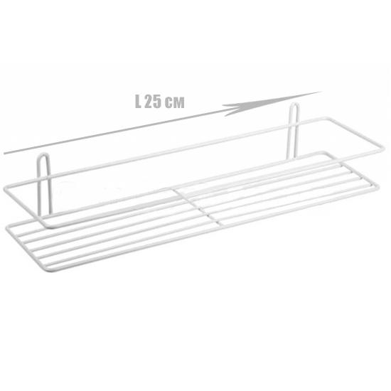 Полочка для ванной прямоугольная 1-ярусная 2-контурная белая