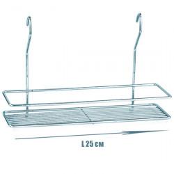 Полочка для ванной прямоугольная 1-ярусная 2-контурная на рейлинг хромовая