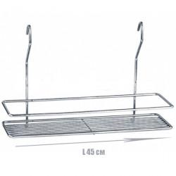 Полочка для ванной прямоугольная 1-ярусная 2-контурная на рейлинг белая