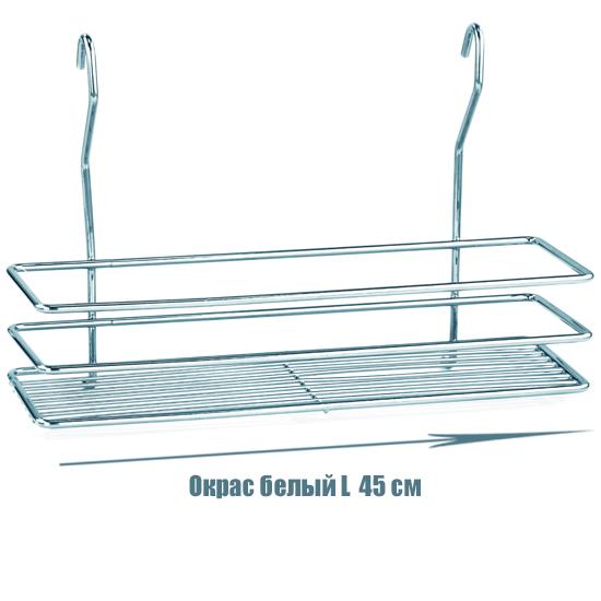 Полочка для ванной прямоугольная 1-ярусная 3-контурная на рейлинг белая