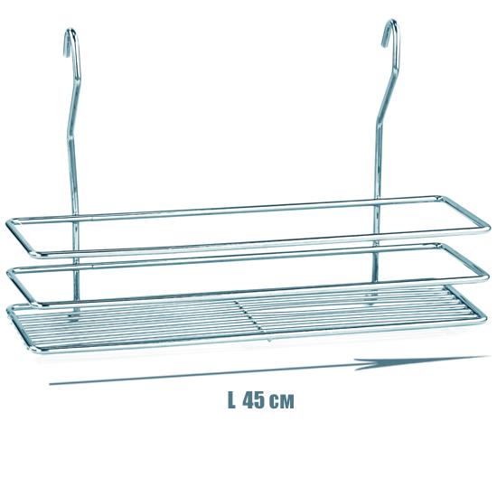 Полочка для ванной прямоугольная 1-ярусная 3-контурная на рейлинг хромовая