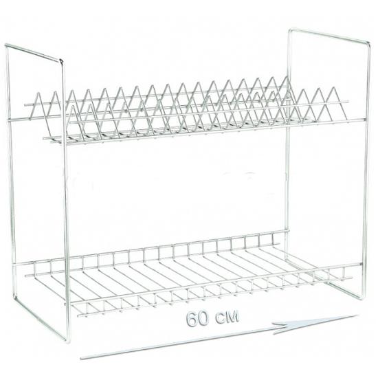 Сушилка 600 прямая 2-ярусная , без крепления на стену, без крепления поддона, тарелки верхние