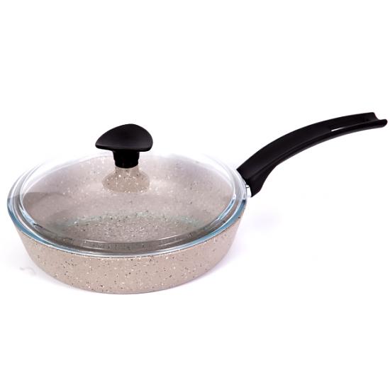 Сковородка Talko мраморная  AA 50222 22 см c жаростойкой стеклянной крышкой