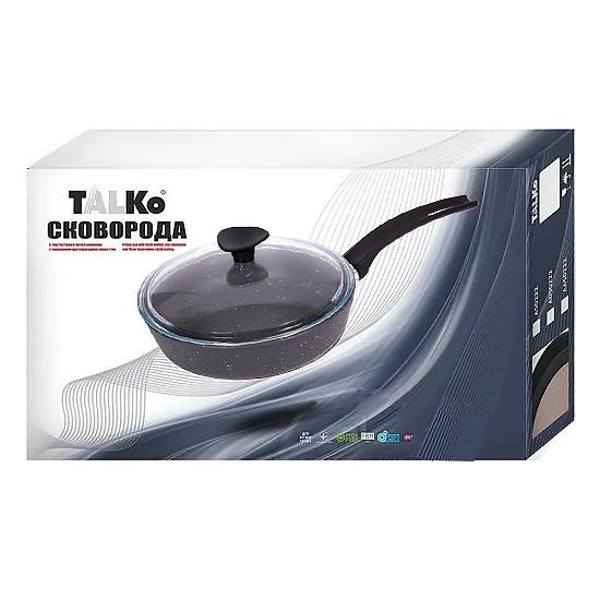 Сковородка Talko с антипригарным покрытием AD 51263 26 см со стеклянной крышкой и металлическим ободком