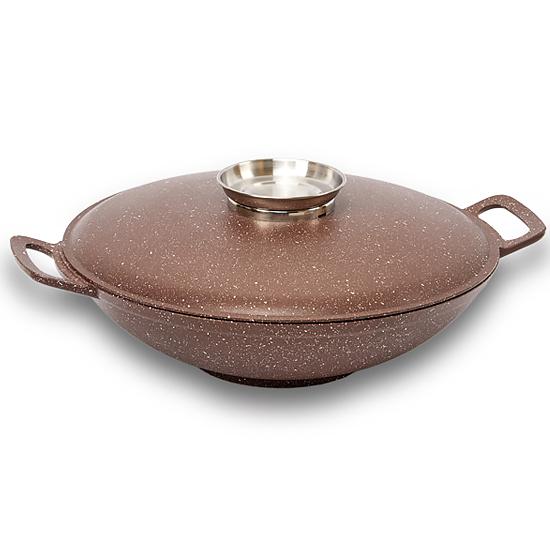 Сковородка Talko с антипригарным покрытием WOK  AK 52301a  30 см и металлической крышкой Арома