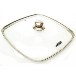 Крышка квадратная стеклянная 28см с ручкой BN-997